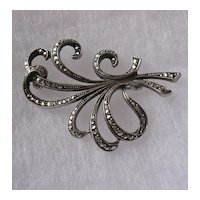 Swedish Art Deco 835 Silver Marcasite Brooch