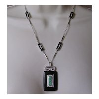 Givenchy Paris Art Deco Revival Pendant Necklace Signed 1978
