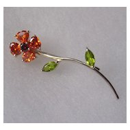 Sterling Silver Crystal set Flower Brooch