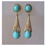 Vintage Avon Turquoise Glass Pendant Clip Earrings