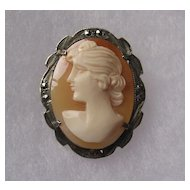 Signed Italian Silver Marcasite Carved Shell Cameo Brooch Pendant