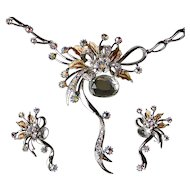 Runway Style Enamel & Aurora Rhinestone Necklace & Earrings Set