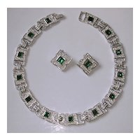Fabulous Vintage Clear & Emerald Rhinestone Collar Necklace & Earrings