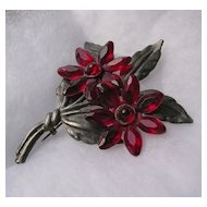 Large Vintage Red Lucite Flower Brooch