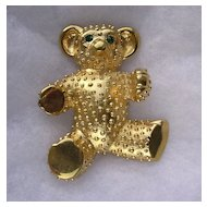 Large Butler & Wilson Gold Plated Teddy Bear Brooch