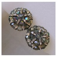 Aurora Glass Bead & Rhinestone Rondelle Clip Earrings