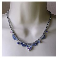 1950's English Blue Aurora Rhinestone Necklace