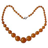 Orange Art Glass Graduated Bead Necklace