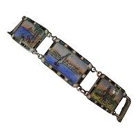 Vintage Egyptian Gilded Silver Enamel Bracelet