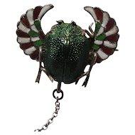 Victorian Enamel Silver Winged Scarab Beetle Brooch