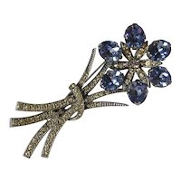 Large Art Deco Sapphire Rhinestone Floral Brooch