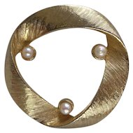 Signed Sphinx Cultured Pearl Brooch