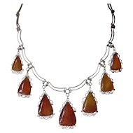 Vintage Graduated Amber Drop Pendant Necklace
