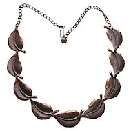 Vintage Copper Leaf Link Necklace