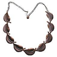 Vintage Copper Leaf Link Necklace