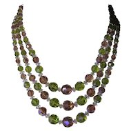 3 Strand Aurora Borealis Faceted Graduated Crystal Bead Necklace