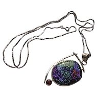 Vintage Sterling Dichroic Glass & Garnet Pendant Necklace