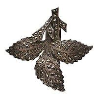 German Art Deco 935 Silver DRGM Marcasite Leaf Dress Clip