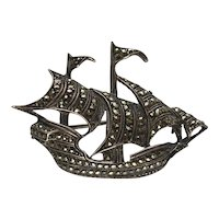 Art Deco 835 Silver Marcasite Galleon Brooch