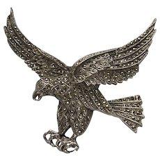 Large Vintage Marcasite Set Eagle Brooch