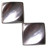 Mid Century Modern Sterling Silver Clip Earrings
