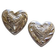 Vintage Sterling Silver Puffy Heart Earrings