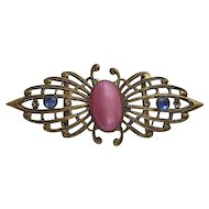 Art Deco Pink Satin Glass Belt Clasp