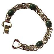 Vintage Imitation Jade Chain Link Bracelet