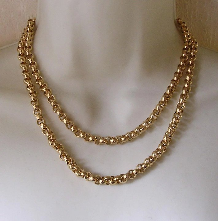Boxed Monet Chunky Gold Tone Belcher Link Chain Necklace SOLD Ruby