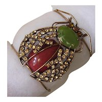Large Copper & Rhinestone Bug Statement Cuff Bangle