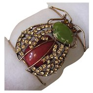 Large Copper & Rhinestone Bug Statement Cuff Bangle