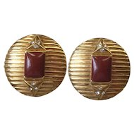 Vintage Deco Style Designer Enamel Rhinestone Clip Earrings Signed Lanvin