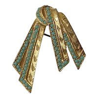 Imitation Turquoise Set Ribbon Brooch Signed Sphinx