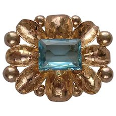 Rose Gold Color Metal & Blue Rhinestone Floral Style Brooch