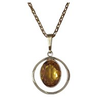 Gold Filled Amber Rhinestone Pendant & Chain