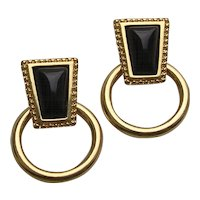 Vintage Monet Gold Tone Black Glass Hoop Earrings