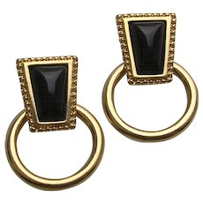 Vintage Monet Gold Tone Black Glass Hoop Earrings