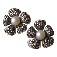 Sterling Silver Pearl & Marcasite Clip Earrings