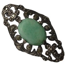 English Victorian Sterling Silver Aventurine & Marcasite Lace or Fichu Brooch