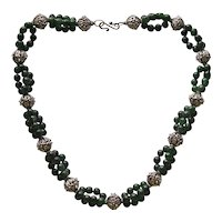 Sterling Silver & Green Agate Necklace