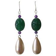 Imitation Carved Green Onyx Glass Amethyst & Imitation Pearl Pendant Earrings