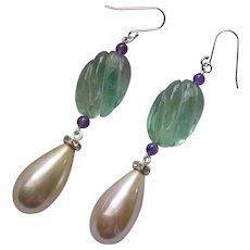 Fluorite Amethyst & Imitation Pearl Pendant Earrings