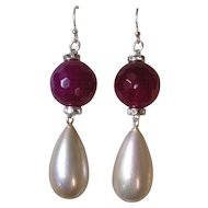 Art Deco Inspired Imitation Ruby & Pearl Pendant Earrings