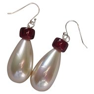 Art Deco Inspired Glass Imitation Pearl & Ruby Glass Earrings