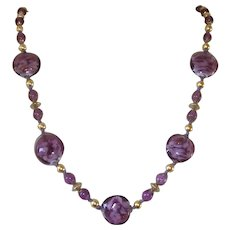 Vintage Venetian Sommerso Aventurine Amethyst Glass Bead Necklace