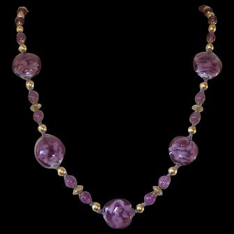 Vintage Venetian Sommerso Aventurine Amethyst Glass Bead Necklace