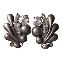 Italian Silver Plated Rivoli Crystal Clip Earrings