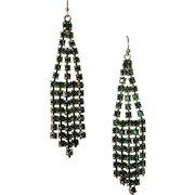 Vintage Emerald Rhinestone Cascade Pendant Earrings