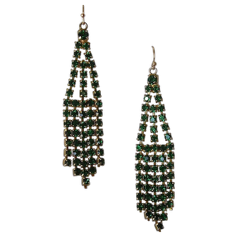 Vintage Emerald Rhinestone Cascade Pendant Earrings