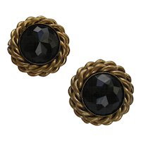 Vintage Butler & Wilson Black Rhinestone Clip Earrings